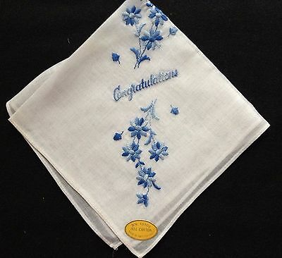 Made in Switzerland Lovely True Vintage Embroidery Floral Motif Handkerchief NWT