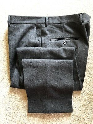 Gieves And Hawkes Savile Row36L Grey Heavy Virgin Wool Trousers