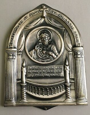 Antique Silverplate Sacred Heart Of Jesus Thy Kingdom Come Wall Plaque Very Nice