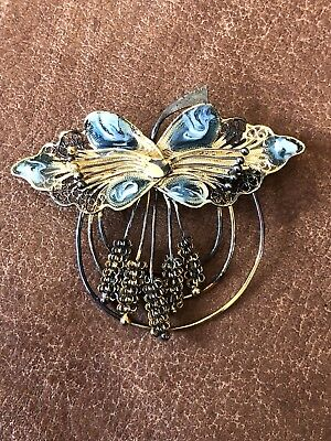 Antique Sterling Silver Filigree Butterfly Wheat Floral Brooch Pin 925