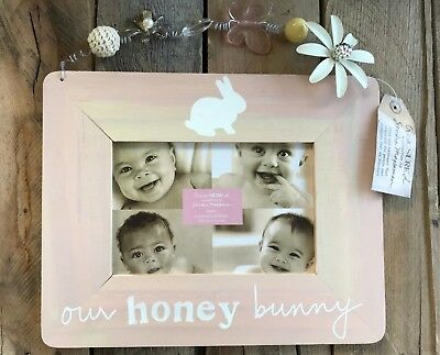 Our Honey Bunny Pink Wood Picture Frame 4x6 Opening CR Gibson butterfly flower