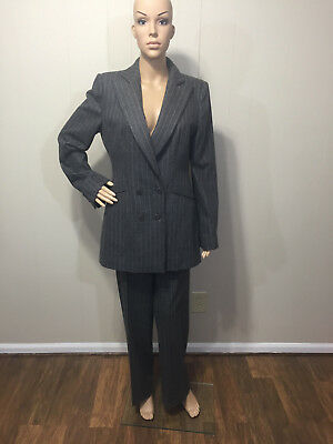 """""""Armani"""" Made in Italy Women's Beautiful Wool Pinstripe Pant Suit Size 10 EUC!"""