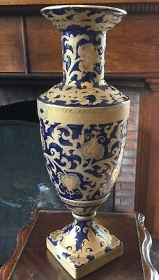 """18"""" tall Vintage Chinese Cobalt And Gilt Vase"""