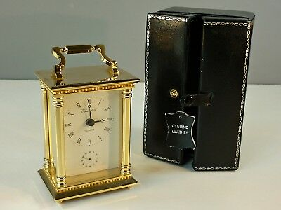 Churchill Carriage Clock Heavy Solid Brass in Original Leather Case - P.W.O.