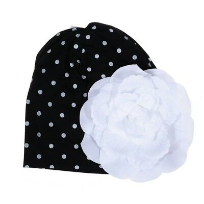 3X(1pcs Baby Newborn Boy Girl White Dot Black Hat Cap with White Flower(Bla Y9Y3