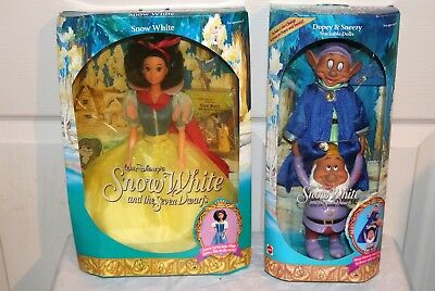 Vtg 1992 Mattel Snow White and Dopey&Sneezy Stackable Dolls MIB NRFB NOS