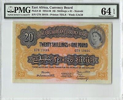 East Africa 1955 P-35 PMG Choice UNC 64 EPQ 20/- Shillings = 1 Poun