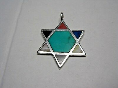 Southwestern Sterling Star Of David With Inlaid Turquoise, Lapis, Mop & Onyx
