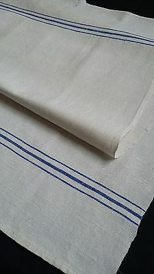 antique handwoven Towel / Runner with blue borders