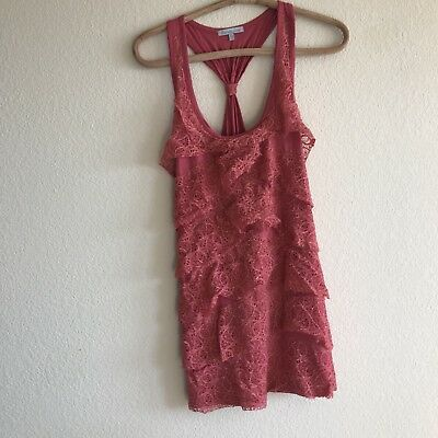 318e407b1c4 Charlotte Russe Pink Ribbed Strappy Short Mini Dress With Lace Tiered  Detail XL