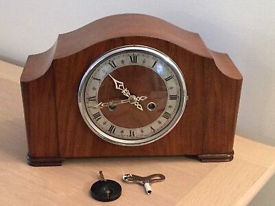 Vintage Chimming Mantel Clock Working With Key & Pendulum  Smiths  Enfield