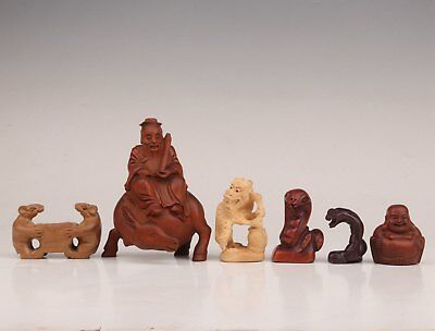 6 Mouse Snake Dragon Statue Japanese Woodcarving Pendant Set Collection Netsuke