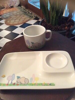 Vintage Dumbo Mug/cup and dish/plate  set  Disney Productions DD Japan