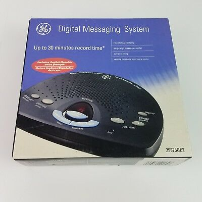 GE Digital Messaging System 29875GE2 Time/Day Stamp English & Spanish Prompts