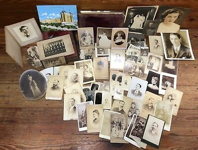 2 vintage Antique Victorian Velvet Photo Album 66 Family Photos Tintypes cabinet