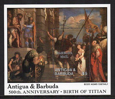BARBUDA MAIL Overprint - 1988, 500th Anniv of Birth of Titian, MNH Mini-Sheet