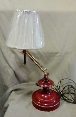 Vintage Red Tole Metal Bouillotte Style Lamp Adjustable Arm New Shade