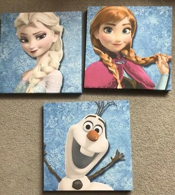Girls Frozen Bedroom Wall Canvases - Elsa / Anna / Olaf