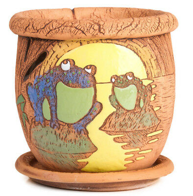 Brown Ceramic Planter with Frogs Artwork. Plants Pot. Handmade in Russia