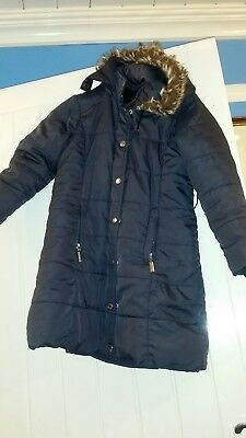 Designer Feraud navy Coat Girls 7-8 hooded