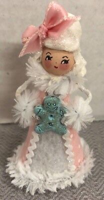 Handmade HOLIDAY GINGERBREAD GIRL Doll Tree Topper Ornament-Sugar Cookie Dolls
