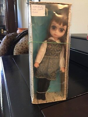 Vintage Sally Sad Eyes Mint in Box Made in Hong Kong Fully Jointed Rooted Hair
