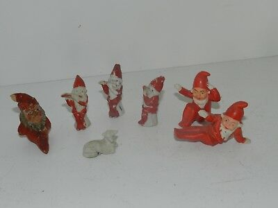 Vtg Miniature Bisque Santa Claus Gnome Christmas Elf Lot Germany