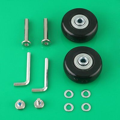 2 Set Luggage Suitcase Replacement Wheels Axles 35mm Deluxe Repair OD 45-80mm