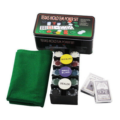 Poker Chip Set 200 Pieces Chips Texas Hold'em Playing Cards Table Game w/ Case
