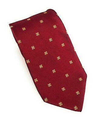 Burberry London 100% Silk Tie Classic Burberry Red White Gold Made In Italy