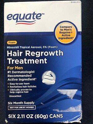 Equate Foam Topical Hair Regrowth Treatment For Men 6 Month Supply (Exp: 10/19)