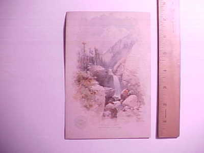 1880s CLARKS SPOOL COTTON LARGE TRADE CARD VIEW OF PIKE'S PEAK VG+