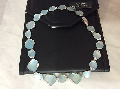 Rare NADRI BlueMother of Pearl/Sterling Silver/Cubic Zirconia Collar Necklace,