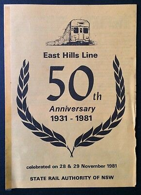 Foldout - State Rail Authority - East Hills Line 50th Anniversary 1931 - 1981