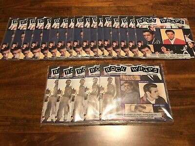 Elvis Presley (17 Packs) and James Dean (5 Packs) Wrapping Paper. New Condition!