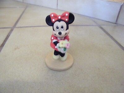 "DISNEY**RARE MINNIE MOUSE WITH BOUQUET OF FLOWERS FIGURINE**3 3/4""TALL Sri Lanka"