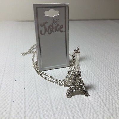 Justice Girls Costume Jewelry Long Necklace Silver Tone Eiffel Tower