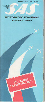 SAS Scandinavian Airlines System timetable 4/1/64 advance
