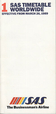 SAS Scandinavian Airlines timetable 3/26/89