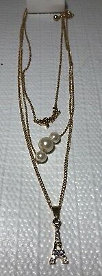 Justice Girls Jewelry Necklace Gold Tone Layered Eiffel Tower Paris Faux Pearl