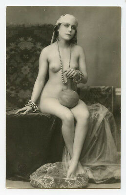 1920s French Nude ORIENTAL FLAPPER Beauty Lady deco photo postcard