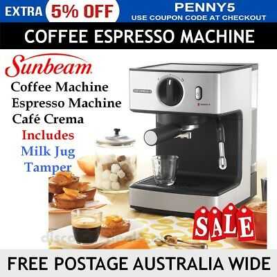 Sunbeam Espresso Coffee Machine Frother Maker Cafe Crema with Milk Jug Tamper