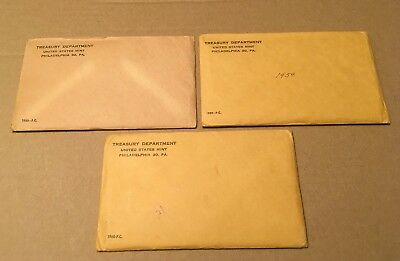 1958, 1959 & 1960 US Mint Proof Sets with Original Sealed Envelopes (UNOPENED).