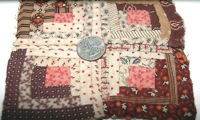 Tiny Log Cabin Madder Brown Quilt Top Charm Sampler