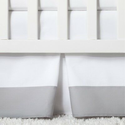 Cloud Island Pleated Crib Skirt - Gray/White