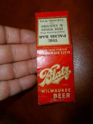 Vintage Blatz Beer The Palms Bar Laramie Wyoming Match Book Matchbook Cover