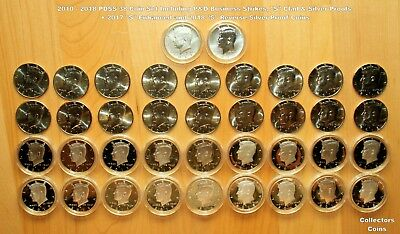 2010 -2018 Kennedy Half PDSS 38 Coin Set wP&D Uncirculated, S Clad/Silver Proofs