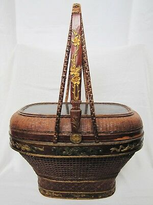 Antique Chinese Bamboo & Wicker Basket w/ Poem & Longevity God