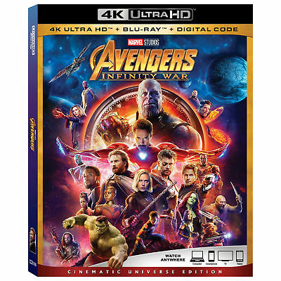 Avengers: Infinity War w/Slipcover (4K Ultra HD, Blu-ray, Digital HD) NEW