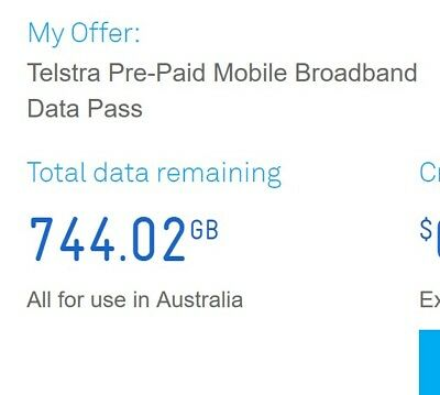 Telstra mobile broadband 1001G DATA (much more than 50G or 100G)